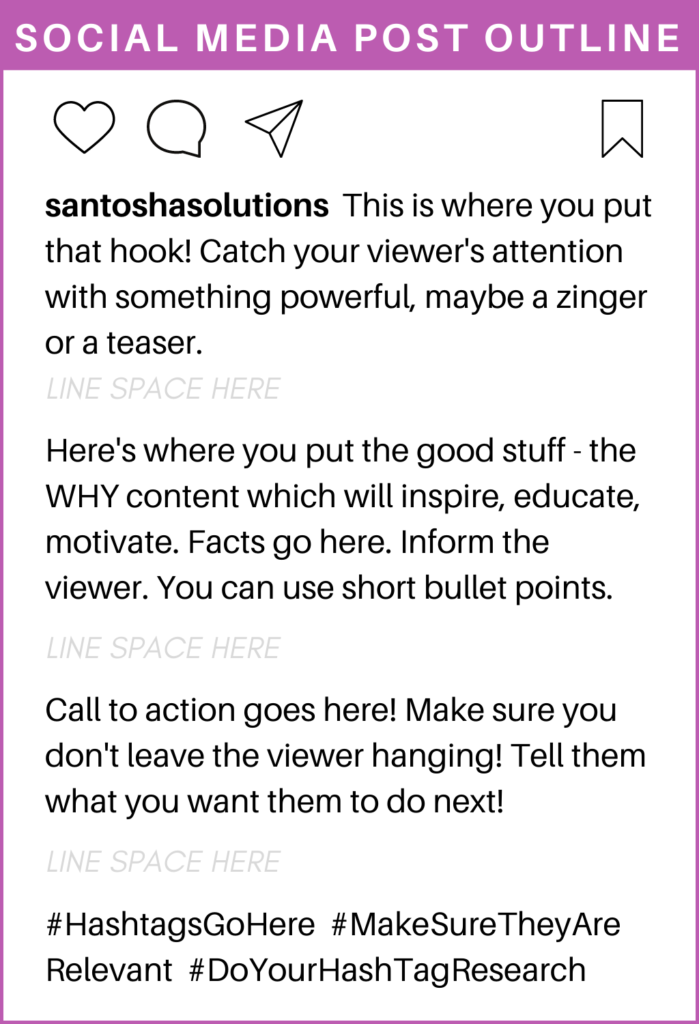 Social Media Post Outline - How to structure a social media post. Santosha Solutions - Business Consulting